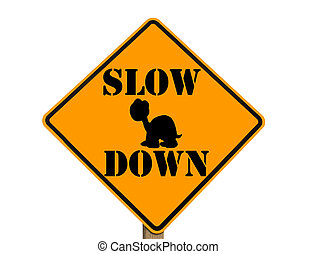 slow sign with turtle silhouette - sign warning to slow down...