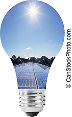 Light bulb with solar panels inside, blue sky on top
