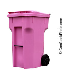 Pink Trash Can - Single pink trash can isolated on white...