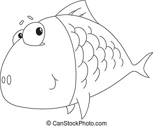 fish big outlined - Illustration of a fish big outlined