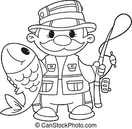 fisherman outlined - illustration of a fisherman outlined
