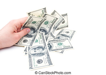 dolars in hand isolated on a white background