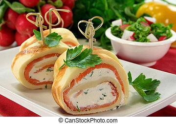 salmão, panquecas
