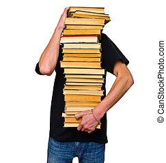 the student and his mountain textbooks - a student trying to...