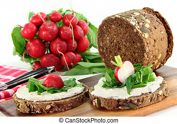 Wild garlic canap - a slice of bread topped with fresh...