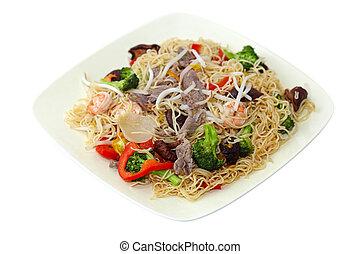 Stir-Fried Noodle - Stir fired noodle with beef, shrimp and...