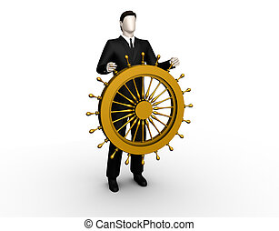 Ship steering wheel - On the image the businessman stands up...