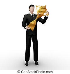 Gold trophy in hands