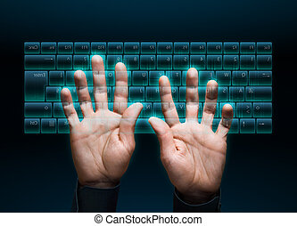 virtual keyboard - hand typing in on a virtual keyboard...