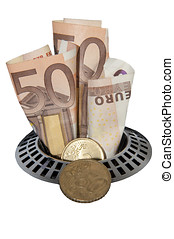 Money down the drain - Bank notes and coins going down a...