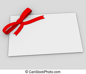 Blank gift tag tied with a bow of red satin ribbon