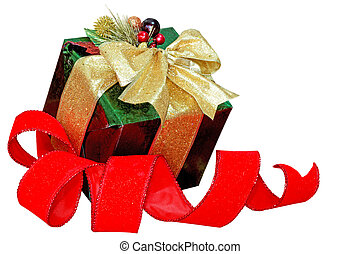 Gift box and Ribbon - Gift box and red ribbon isolated on...