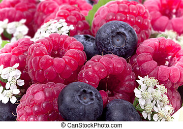 Full frame ripe raspberry and blueberries