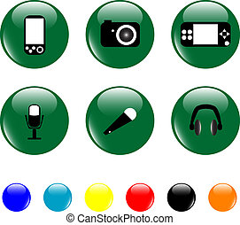 Media related elements icon set