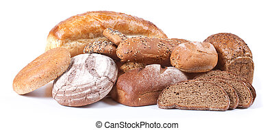 Bread and bakery on white background