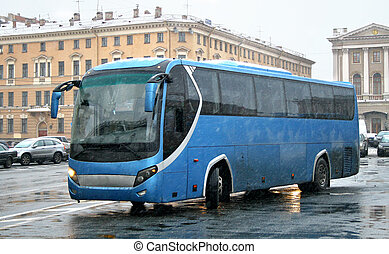 Blue bus - The blue bus in rainy day