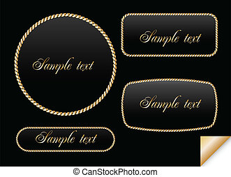 Golden sign on chain. Vector frame illustration
