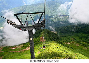 Mountains in the clouds, ropeway