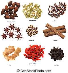 Spice Set - Set of nine spices isolated on white