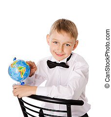 Four years boy - seven years boy with globe isolated on...