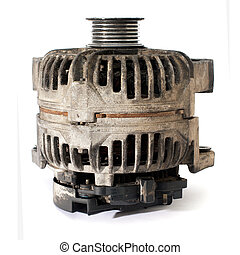 old electric motor generator, over white background with...