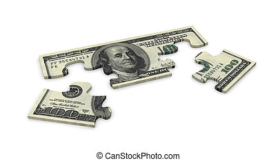 3d dollar puzzle - 3d puzzle of dollar 100 note
