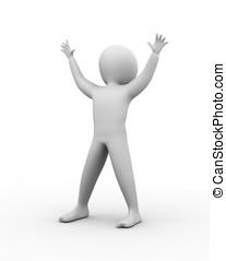 3d happy man - 3D man happy man with wide open hands