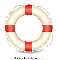 Lifebouy - illustration of lifebouy kept in isolated white...