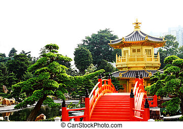 oriental golden pavilion of Chi Lin Nunnery and Chinese...