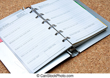 schedule book on wood board