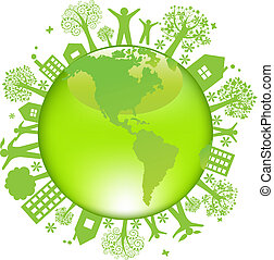 Earth Day Concept, Isolated On White Background, Vector...