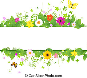 Spring Background, Isolated On White Background, Vector...