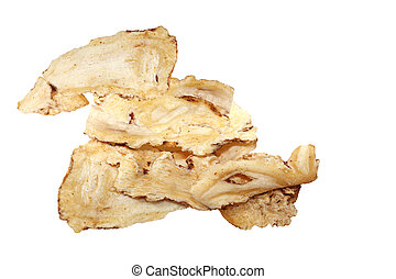 Radix angelicae sinensis - Slices of dried Radix angelicae...