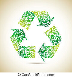 Recycle with Human Hand - illustration of recycle symbol...
