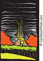 Volcano Color Woodcut - Color image in woodcut style of a...