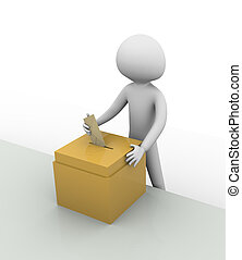Voting - 3d man inserting a vote into ballot box