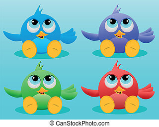 Four Cute Birds - Vector illustration of Cute little Birds
