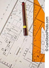 architectural plan close up - drawing technical...