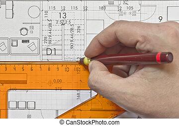 architectural,  plan, technique,  projec