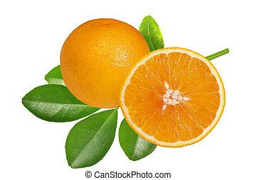 Orange Fruit - Orange fruits and leaves isolated on white...