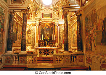 The beautiful interior of the Abbey of San Nilo in...