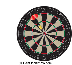 Bullseye - Vector image of a dart in the bullseye on a...