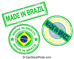 Made in Brazil stamp - Set of grunge rubber stamp with the...