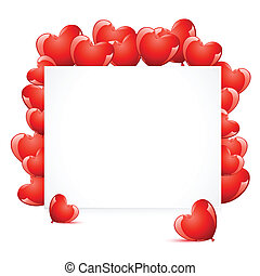 Love Card - illustration of heart shape balloon around card