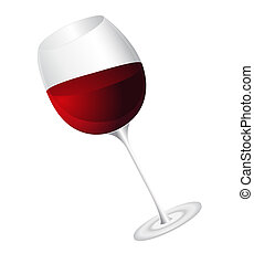 Glass of wine - Raster illustration of wine glass isolated...