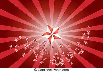 Star burst - Raster illustration of white red starburst...