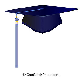 Blue Graduation Cap - Raster illustration file of a...