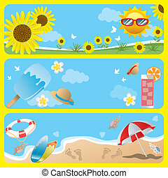 Summer banner set - Illustration vector