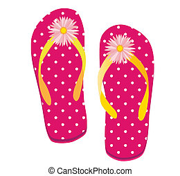 Pink Dot Flip flop - Raster illustration of a pair of flip...
