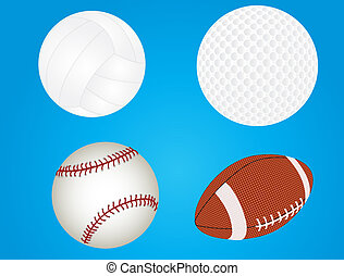 Set of sport balls - raster file of baseball, golfball,...